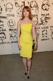 Alicia Witt isn't afraid of some color as she showed here when she wore this yellow strapless cocktail dress.