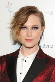 Evan Rachel Wood wore her hair in an updo with messy-glam bangs at the Art of Elysium's Heaven Gala.
