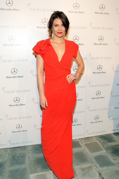 Lauren Cohan looked radiant at the Art of Elysium's Heaven Gala in a red MaxMara gown with a ruffled shoulder.