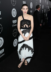Rooney Mara was edgy at the Art of Elysium Heaven Gala in a black-and-white Givenchy dress with a handkerchief hem and a single shoulder strap.