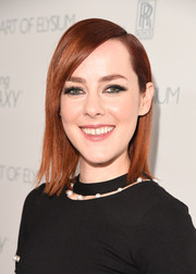Jena Malone kept it trendy with this sleek straight 'do with side-swept bangs at the Art of Elysium Heaven Gala.