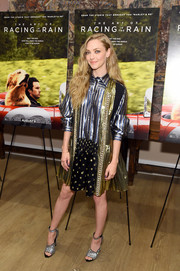 Amanda Seyfriend looked fab in a swingy patchwork shirtdress by Prada at the New York premiere of 'The Art of Racing in the Rain.'
