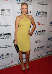 Malin Akerman anchored her summery chartreuse dress with nude patent platforms.
