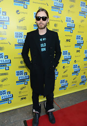 Jared Leto kept warm and stylish with this black wool coat, which he sported at SXSW.
