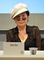 Yoko Ono sported a funky white beret as she attended the Artists Against Fracking Coalition Event.