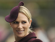 Zara Phillips added a bit of shine to her look with some lipgloss.