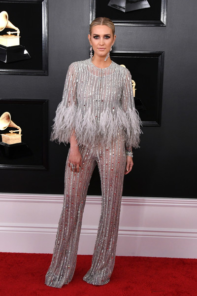 Ashlee Simpson Jumpsuit [clothing,red carpet,carpet,fashion,fashion model,flooring,haute couture,hairstyle,dress,shoulder,arrivals,ashlee simpson,grammy awards,staples center,los angeles,california,annual grammy awards]