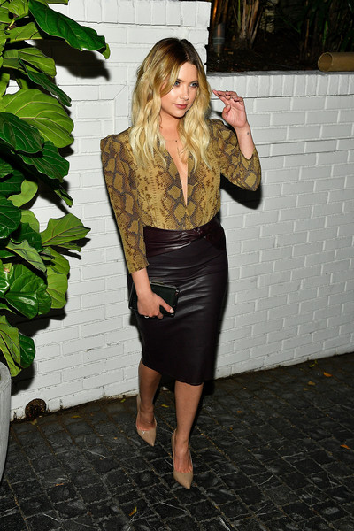 Ashley Benson Pencil Skirt [clothing,pencil skirt,dress,lady,shoulder,blond,fashion,leather,leg,footwear,arrivals,ashley benson,chateau marmont,los angeles,california,prive revaux,launch event,prive revaux launch event]