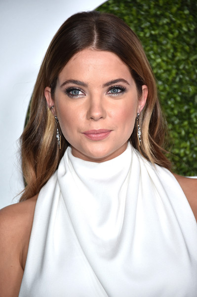 Ashley Benson Long Center Part [hair,face,white,eyebrow,lip,hairstyle,beauty,chin,skin,blond,arrivals,ashley benson,gq 20th anniversary men of the year party,california,los angeles,chateau marmont,gq 20th anniversary men of the year party]