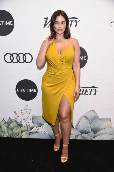 Ashley Graham Wrap Dress [clothing,cocktail dress,shoulder,dress,yellow,fashion model,thigh,leg,carpet,fashion,ashley graham,power of women: new york,variety,new york city,cipriani midtown]