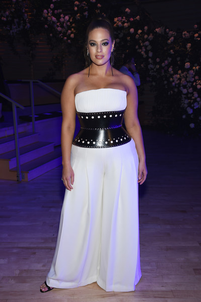 Ashley Graham Jumpsuit [the shows,fashion model,fashion show,fashion,beauty,purple,shoulder,gown,model,dress,haute couture,brandon maxwell - front row,ashley graham,brandon maxwell,front row,new york city,appel room,new york fashion week]