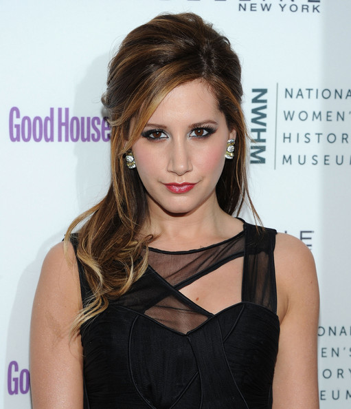 Ashley Tisdale Gemstone Studs [hair,hairstyle,shoulder,eyebrow,beauty,chin,brown hair,lip,long hair,dress,ashley tisdale,annual shine on awards honor remarkable women,women,new york city,radio city music hall,good housekeeping,annual shine on awards]