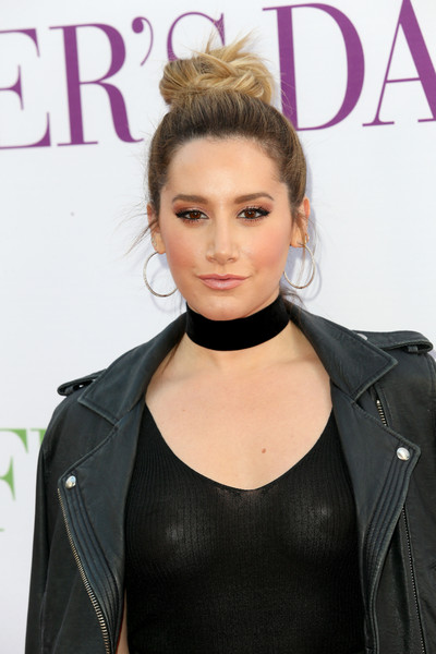 Ashley Tisdale Hair Knot [mothers day,hair,hairstyle,lip,beauty,blond,shoulder,fashion,brown hair,long hair,leather,arrivals,ashley tisdale,actress,california,hollywood,tcl chinese theatre imax,open roads world premiere]