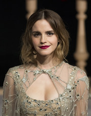 Emma Watson framed her beautiful face with shoulder-length waves for the Shanghai premiere of 'Beauty and the Beast.'