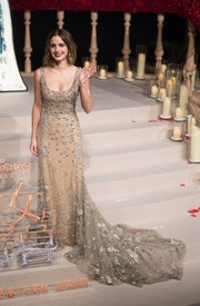 Emma Watson looked absolutely mesmerizing in a beaded nude fishtail gown by Elie Saab Couture at the Shanghai premiere of 'Beauty and the Beast.'