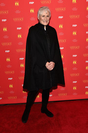 Glenn Close looked winter-ready in a black cape at the New York screening of 'The Assassination of Gianni Versace: American Crime Story.'