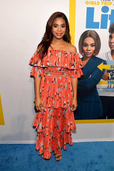 Regina Hall was a boho cutie in a tiered off-the-shoulder maxi dress at the Atlanta screening of 'Little.'