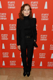 Isabelle Huppert teamed a black pantsuit with a matching turtleneck for the Atlantic Theater Company 2019 Gala.