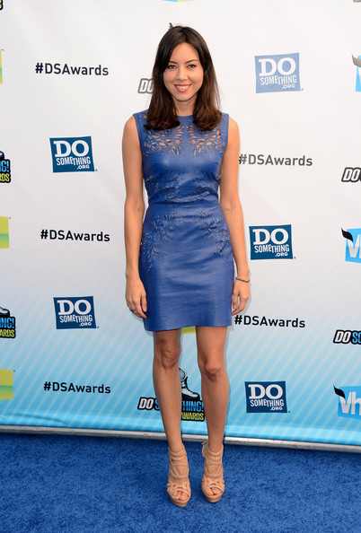 Aubrey Plaza Leather Dress