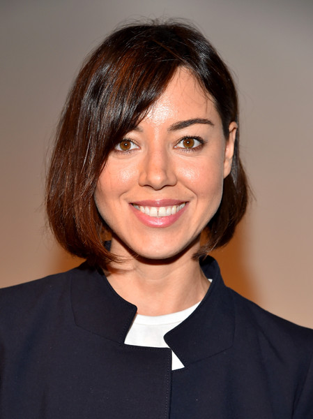 Aubrey Plaza Bob [next,hair,hairstyle,chin,official,white-collar worker,smile,layered hair,brown hair,finders keepers,aubrey plaza,los angeles,the orchard,ace hotel,california,sundance,premiere,premiere]