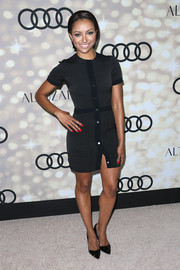Kat Graham's black pointy pumps provided an elegant finish to her look.