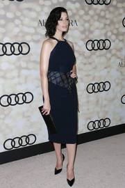 Jessica Pare looked modern and chic in a navy halter dress with a peplum waist during the Emmy kickoff party.