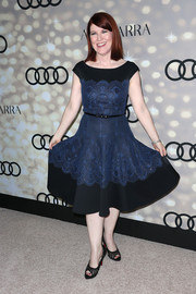 Kate Flannery looked very feminine in a blue lace-embellished cocktail dress during the Emmy kickoff party.