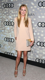 Cat Deeley went for simple sophistication in a long-sleeve blush dress at the Emmy kickoff party.