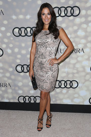 Angelique Cabral pulled her elegant look together with a pair of black Jimmy Choo Lance sandals.