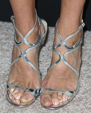 Julie Bowen sparkled in silver Lance sandals by Jimmy Choo during the Emmy kickoff party.