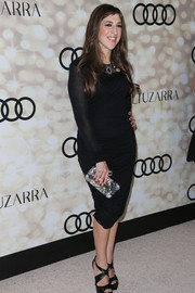 Mayim Bialik looked very classy at the Emmy kick-off party in her sheer-sleeve LBD.