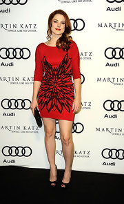 Alexandra Breckenridge was red hot at the Audi bash in Hollywood. She paired the look with classic black peep-toe pumps.