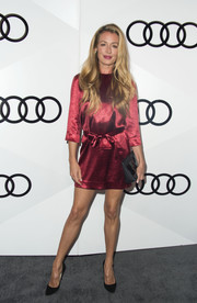 Cat Deeley shimmered in a belted wine-red mini dress during Audi's celebration of the Emmys.