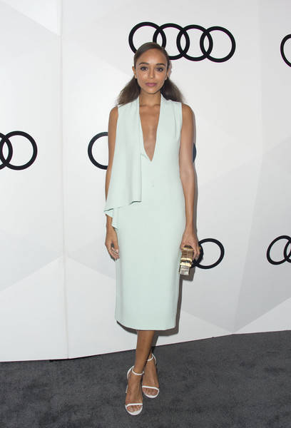 Ashley Madekwe proved simple could be super elegant with this pale-mint Cushnie et Ochs midi dress, boasting a plunging neckline and drapey detailing, during Audi's celebration of the Emmys.