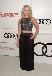 Lindsey Vonn flashed her taut tummy in an embroidered crop-top during Audi's celebration of Emmys week.