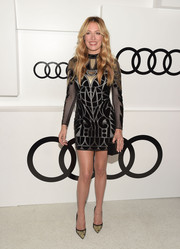 Cat Deeley looked fab in a geometric-patterned mini dress by Temperley London during Audi's celebration of Emmys week.