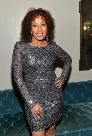 Tamara Tunie was all sparkly in a beaded silver dress during the Golden Globes Weekend celebration.