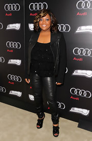 Sherri Shepherd topped off her rocker style with black cutout booties complete with buckle detailing.