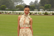 Actress Zoe Saldana arrives at The Foundation Polo Challenge sponsored by Audi at the Santa Barbara Polo & Racquet Club on July 9, 2011 in Santa Barbara, California.