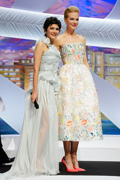 Audrey Tautou Evening Dress [fashion model,fashion,clothing,dress,gown,shoulder,fashion show,haute couture,beauty,fashion design,audrey tautou,nicole kidman,stage,cannes,france,opening ceremony inside - the 66th annual cannes film festival,cannes film festival,palais des festivals]