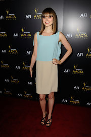 Bella Heathcote wore a two-toned chiffon dress at the AACTA Awards.