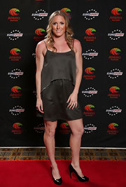 An black A-line cocktail dress with a loosely draped top was Sally Pearson's outfit of choice at the Australian Athlete of the Year Awards.