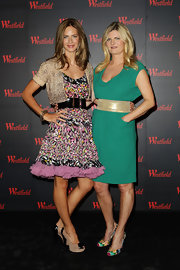 Trinny Woodall looked oh-so-feminine in a print dress with a flirty ruffled hem at the Westfield Fashion Therapy launch.