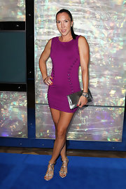 Jelena Jankovic chose a figure-hugging purple mini dress for the Australian Open Official Player Party.
