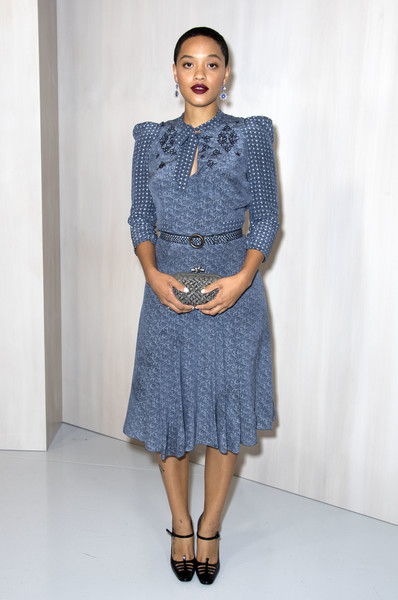 Ava DuVernay Woven Clutch [photo,clothing,denim,blue,fashion model,fashion,jeans,dress,fashion show,waist,day dress,kiersey clemons,ava duvernay,hilton als,valerie macon,california,bottega veneta,westwood,event,hammer museum gala in the garden]