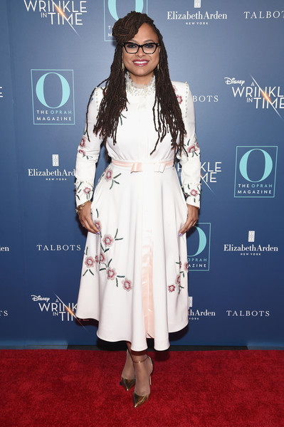 Ava DuVernay Beaded Dress [o the oprah magazine hosts special nyc screening of ``a wrinkle in time,a wrinkle in time,clothing,red carpet,carpet,dress,premiere,fashion,flooring,fashion design,long hair,event,ava duvernay,nyc,walter reade theater,screening]