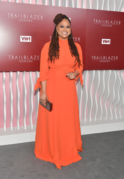 Ava DuVernay Evening Dress [orange,clothing,red carpet,fashion,carpet,peach,dress,premiere,flooring,fashion design,arrivals,ava duvernay,trailblazer honors,vh1 trailblazer honors,the wilshire ebell theatre,los angeles,california,vh1]
