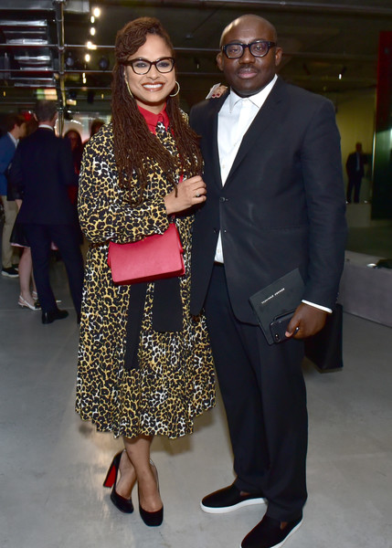 Ava DuVernay Print Dress [fashion,suit,formal wear,event,eyewear,fashion design,outerwear,dress,blazer,tuxedo,arrivals,ava duvernay,edward enninful,front row,new york city,prada resort 2019 fashion show,fashion show]