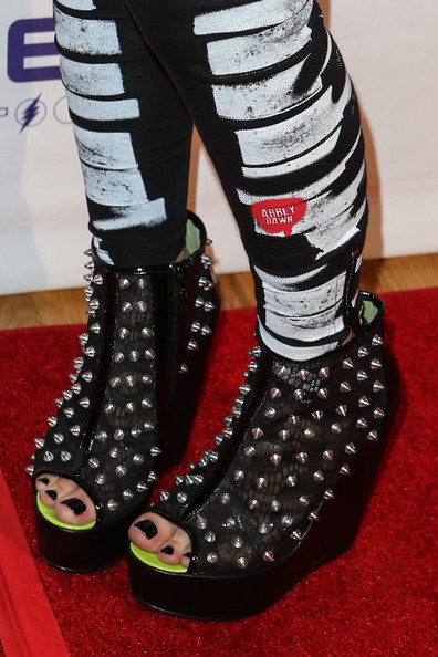 Avril Lavigne Studded Boots [avril lavigne,avril lavigne - arrivals,footwear,shoe,high heels,carmine,ankle,fashion accessory,new york city,metropolitan pavilion,abbey dawn,abbey dawn by]