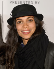 Rosario Dawson attended the Tribeca Film Fest premiere of 'Awake, A Dream From Standing Rock' wearing a classic chaplin hat.